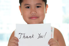 Boy with card thank you. Boy with card and thank you card Royalty Free Stock Images
