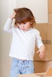 Boy with cardboard boxes Royalty Free Stock Photo