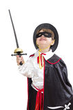 Boy with carnival costume. Little fighting zorro Royalty Free Stock Photos