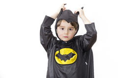 Boy with carnival costume . Costume of bat Royalty Free Stock Photos