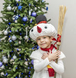 Boy in carnival costumes of snowmen Stock Photography