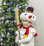 Boy in carnival costumes of snowmen Stock Photos