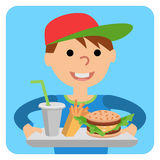 Boy carries a tray of food. Vector illustration isolated on white background. Royalty Free Stock Photo