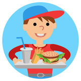 Boy carries a tray of food. Vector illustration isolated on white background. Royalty Free Stock Images