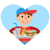Boy carries a tray of food. Vector illustration isolated on white background. Royalty Free Stock Photography