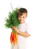Boy with carrots Stock Photos