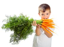 Boy with carrots Stock Images