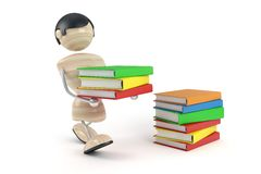 Boy carry pile books. White background,  isolated Stock Images