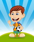 The boy carrying the ball and backpack is waving his hand vector illustration Stock Photo