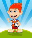 The boy carrying the ball and backpack is waving his hand vector illustration Royalty Free Stock Images