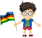 Boy carrying flag for sport event Royalty Free Stock Images