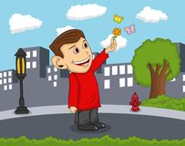 A boy carrying flowers and surrounded by butterfly with city background cartoon Royalty Free Stock Photo
