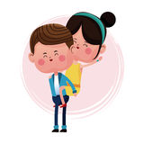 Boy carrying girl funny graphic Royalty Free Stock Photo