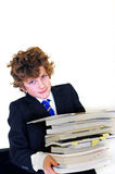 Boy carrying homework Stock Photos