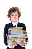 Boy carrying homework Stock Images