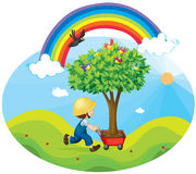 Boy carrying tree royalty free illustration