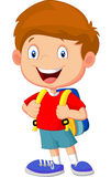 Boy cartoon with backpacks Stock Photo