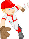 Boy cartoon baseball player Royalty Free Stock Photos