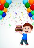 Boy cartoon with birthday cake Royalty Free Stock Photo