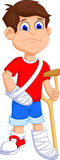 Boy cartoon broken arm and leg Royalty Free Stock Images