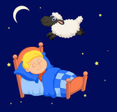 Boy cartoon counting sheep Royalty Free Stock Photos