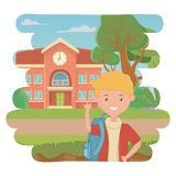 Boy cartoon of school design. Boy cartoon design, School education learning knowledge study and class theme Vector illustration stock illustration