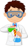 Boy cartoon doing chemical experiment Royalty Free Stock Photos