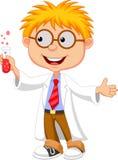 Boy cartoon doing holding reaction tube Royalty Free Stock Image