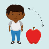 boy cartoon fruit apple red Royalty Free Stock Photo