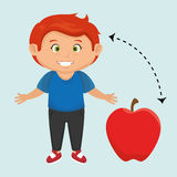 boy cartoon fruit apple red Royalty Free Stock Images