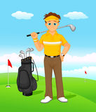 Boy cartoon golf player Royalty Free Stock Photography