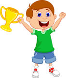 Boy cartoon holding gold trophy Royalty Free Stock Images