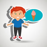 Boy cartoon ice cream Stock Images