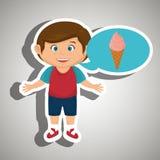 Boy cartoon ice cream Stock Image