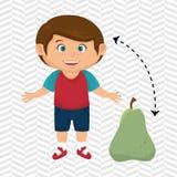 Boy cartoon pear fruit Stock Photo