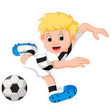 Boy cartoon playing football Stock Image