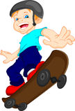 Boy cartoon playing skateboard Stock Images