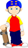 Boy cartoon playing skateboard Stock Photo