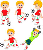 Boy cartoon playing soccer Royalty Free Stock Images