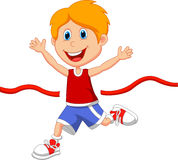 Boy cartoon ran to the finish line first Stock Photo