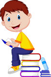 Boy cartoon reading book Stock Photo