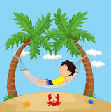 Boy cartoon relaxing in a hammock Stock Photography