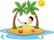Boy cartoon relaxing in a hammock Stock Images