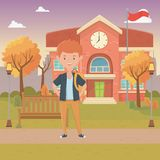 Boy cartoon of school design. Boy cartoon design, School education learning knowledge study and class theme Vector illustration vector illustration