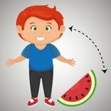 Boy cartoon sliced watermelon. Illustration eps 10 Stock Image