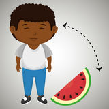 Boy cartoon sliced watermelon. Illustration eps 10 Royalty Free Stock Image