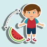 Boy cartoon sliced watermelon. Illustration eps 10 Royalty Free Stock Photos