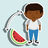 Boy cartoon sliced watermelon. Illustration eps 10 Royalty Free Stock Photo