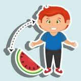 Boy cartoon sliced watermelon. Illustration eps 10 Stock Images