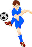 Boy cartoon soccer player Stock Images